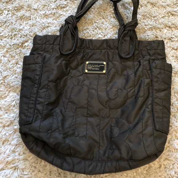 Marc Jacobs brown nylon quilted tote bag